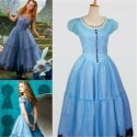 Alice In Wonderland Cosplay Tim Burton Blue Dress Halloween Costume