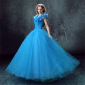 Disney Live Action Film Cinderella Wedding Blue Dress Cosplay Costumes - Deluxe Version