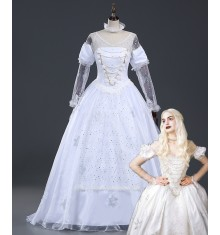 Alice In Wonderland Cosplay White Queen Dress Costume