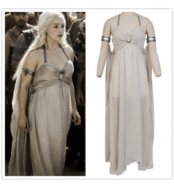Game of Thrones Daenerys Targaryen Grey Dress Cosplay Costume