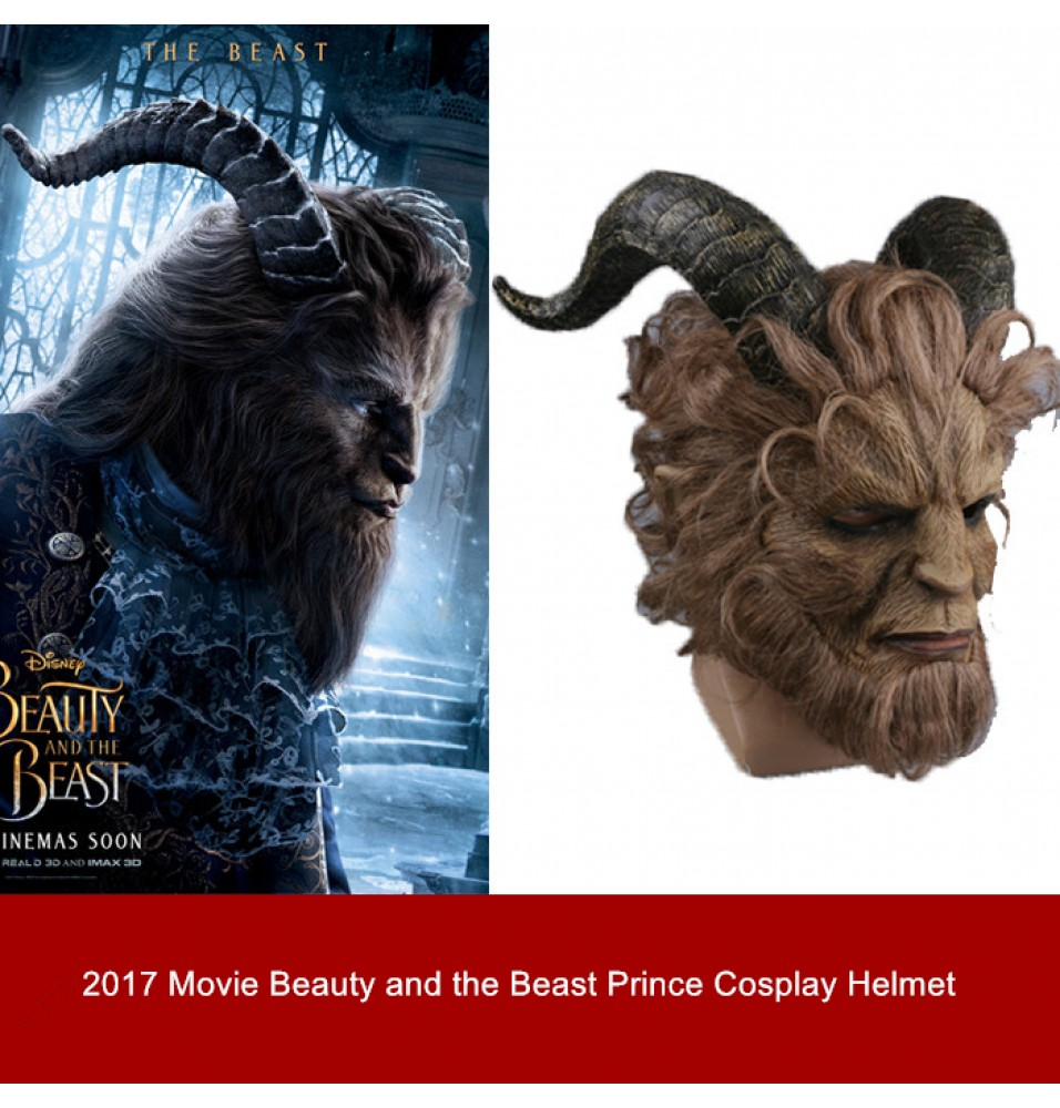 2017 Movie Beauty and the Beast Prince Adam Cosplay Helmet Mask