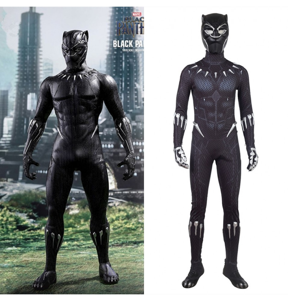 2018 Black Panther Cosplay Costume Black Jumpsuit