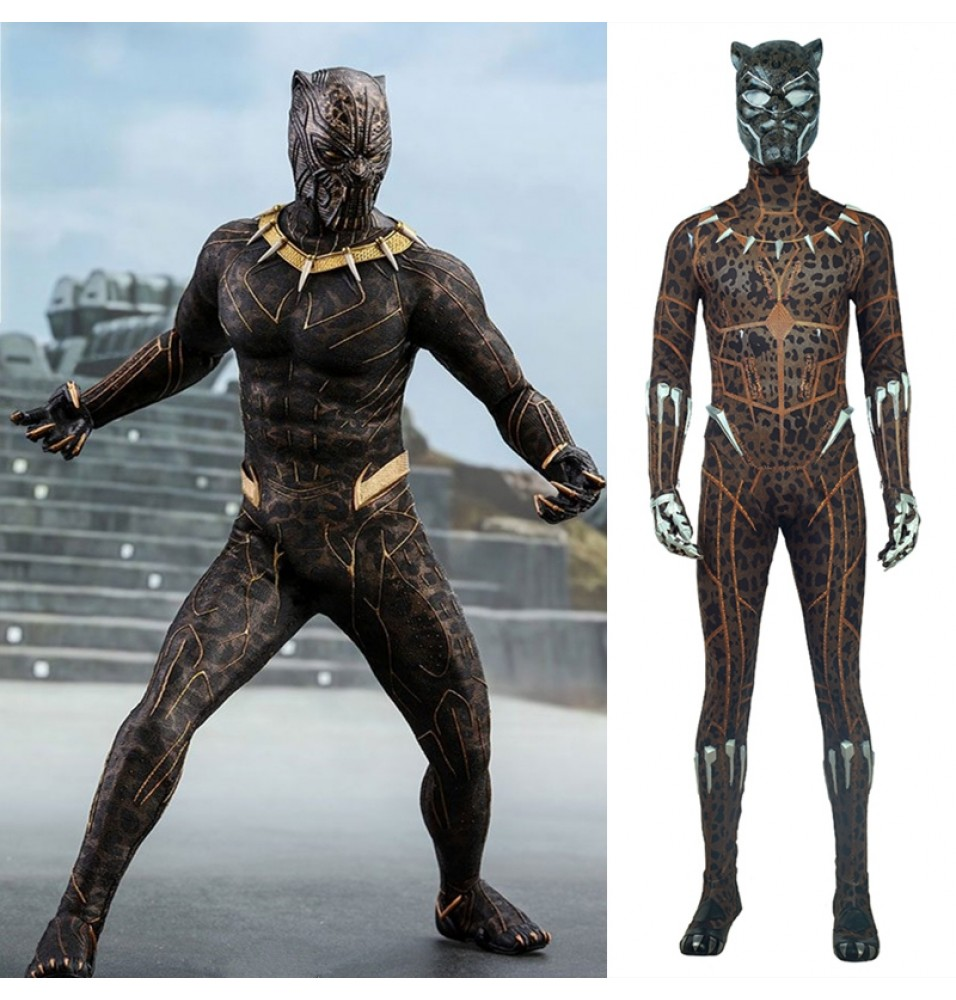 2018 Black Panther Erik Killmonger Costume Leopard Print Jumpsuit