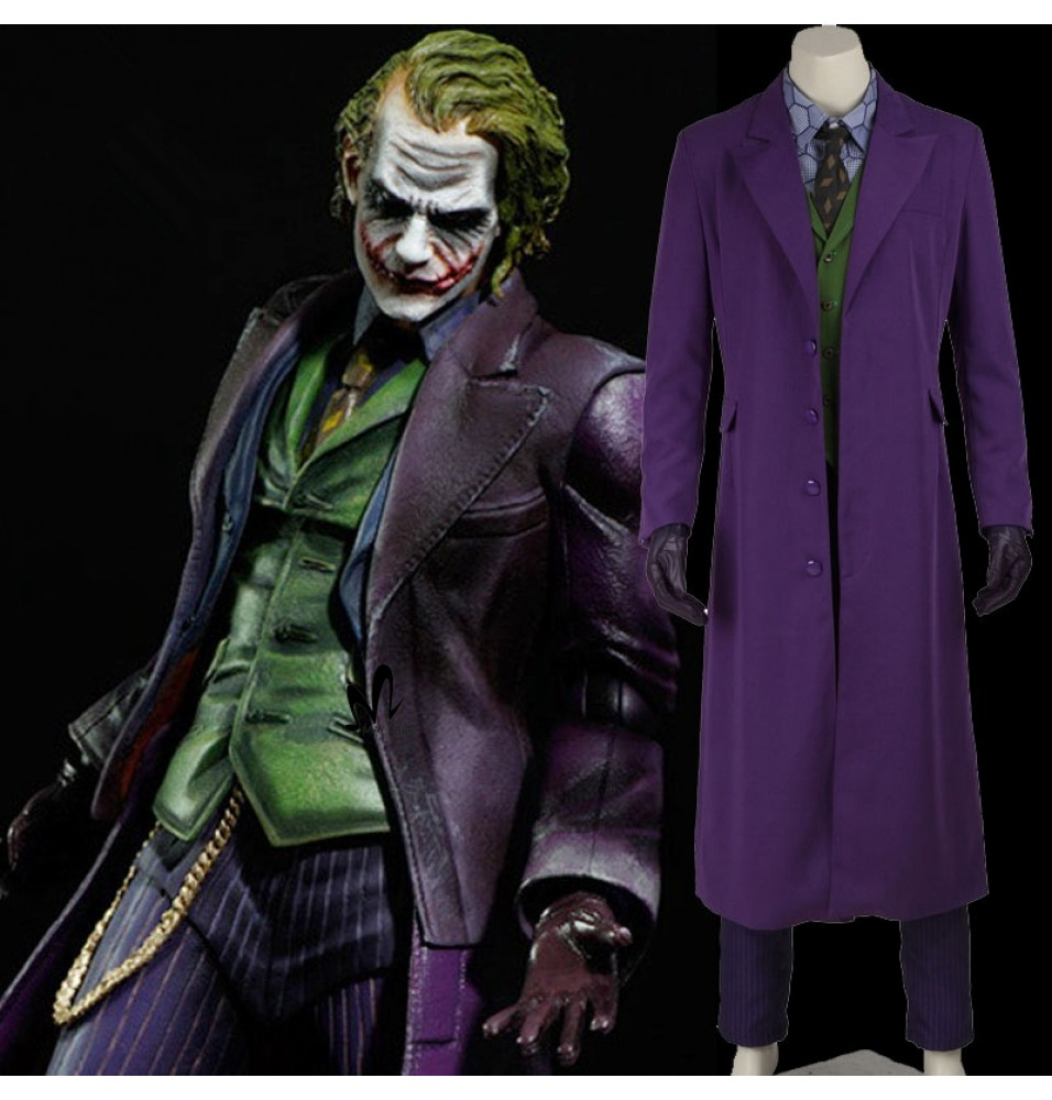 Batman Dark Knight Joker Cosplay Set Gabardine Trench Coat Costume