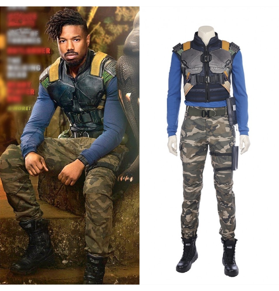 Black Panther Erik Killmonger Cosplay Costume Deluxe Outfit
