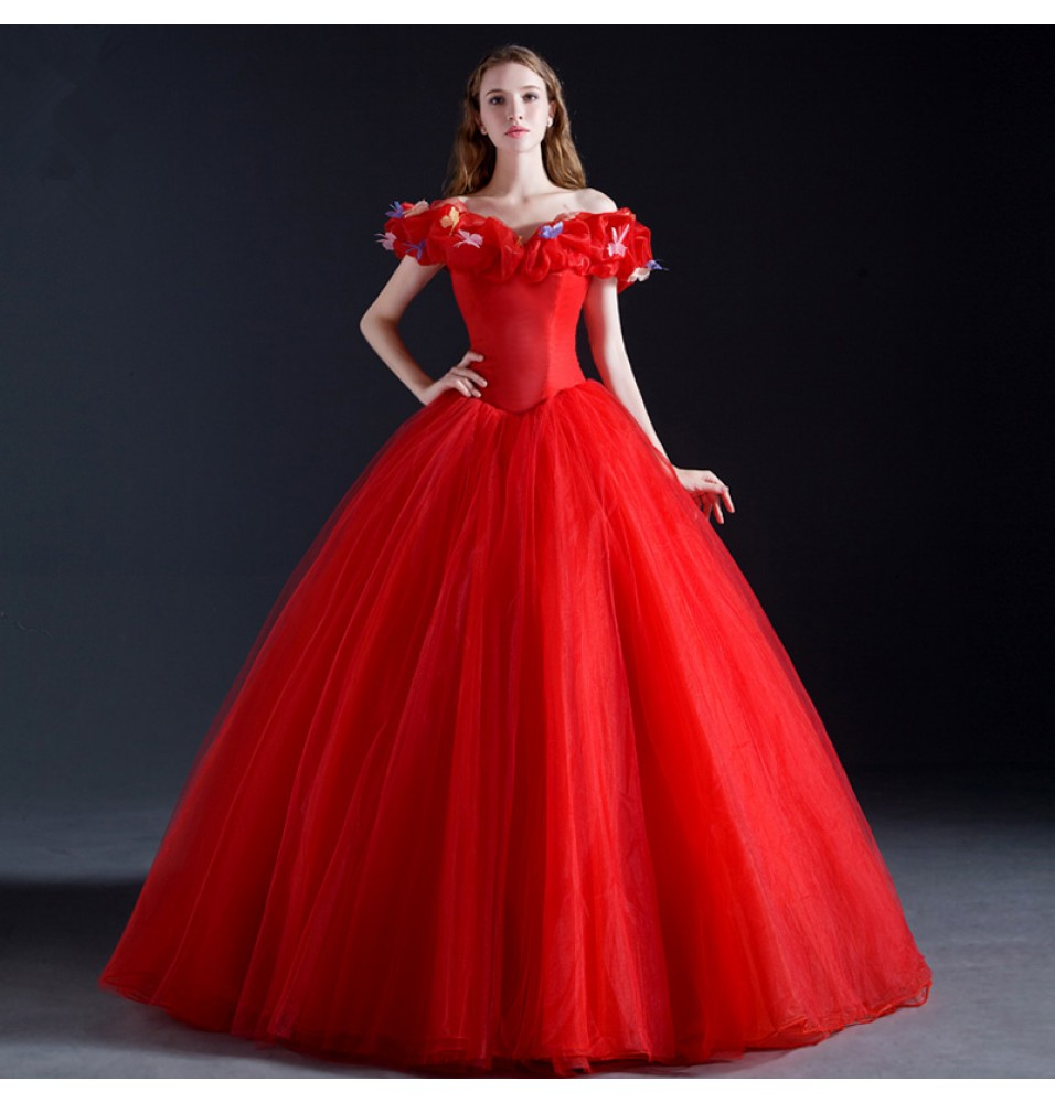 disney cinderella wedding red white dress cosplay costumes deluxe version - Fairy Wedding Dress