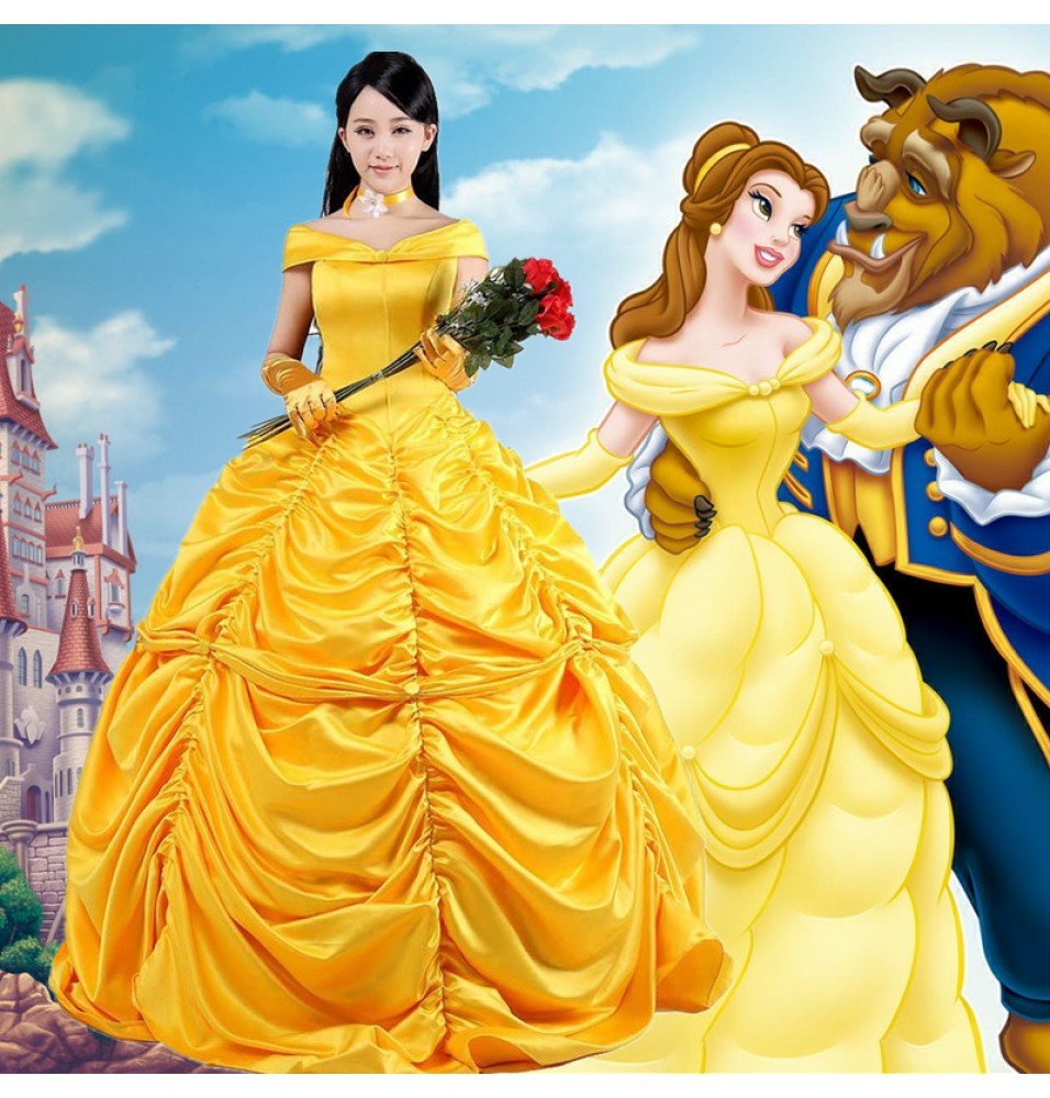 Disney Beauty and the Beast Belle Princess Evening Gown Dresses Cosplay Costumes