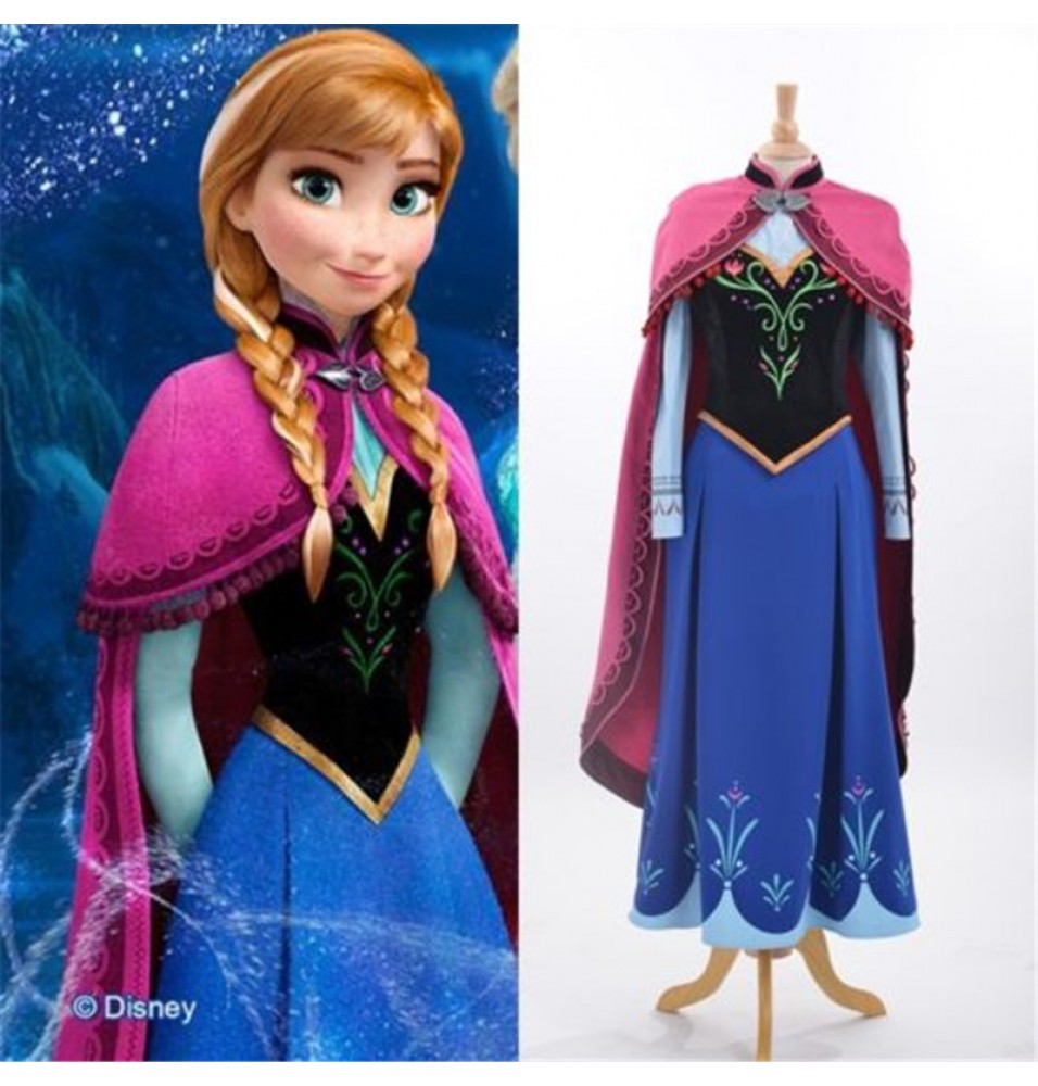 Disney Princess Frozen Anna Cloak Dress Cosplay Costume Deluxe Version