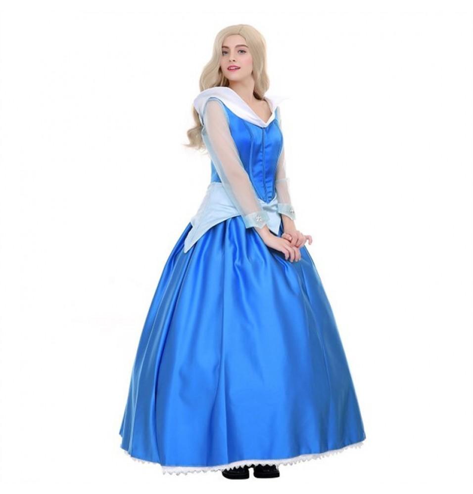 Disney Sleeping Beauty Aurora Princess Blue Dress Cosplay Costume