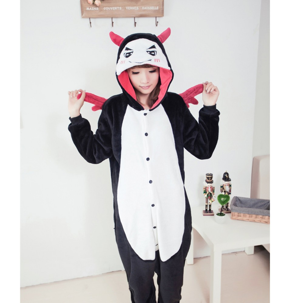 Cute Angel Demon Onesies Pajamas Unisex Flannel Kigurumi Onesies Winter Animal Pajamas For Adults