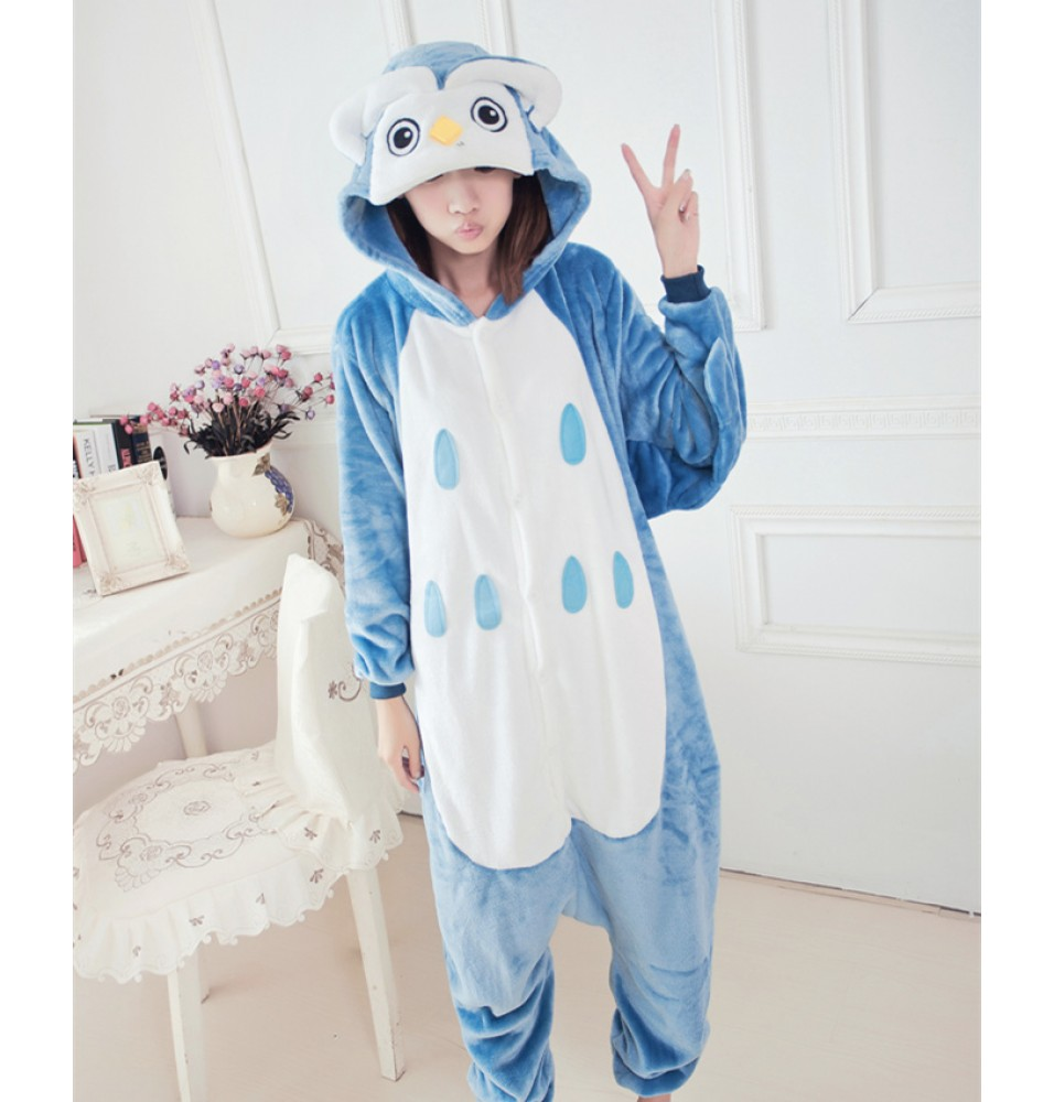 Owl Onesies Pajamas Unisex Flannel Kigurumi Onesies Winter Animal Pajamas For Adults