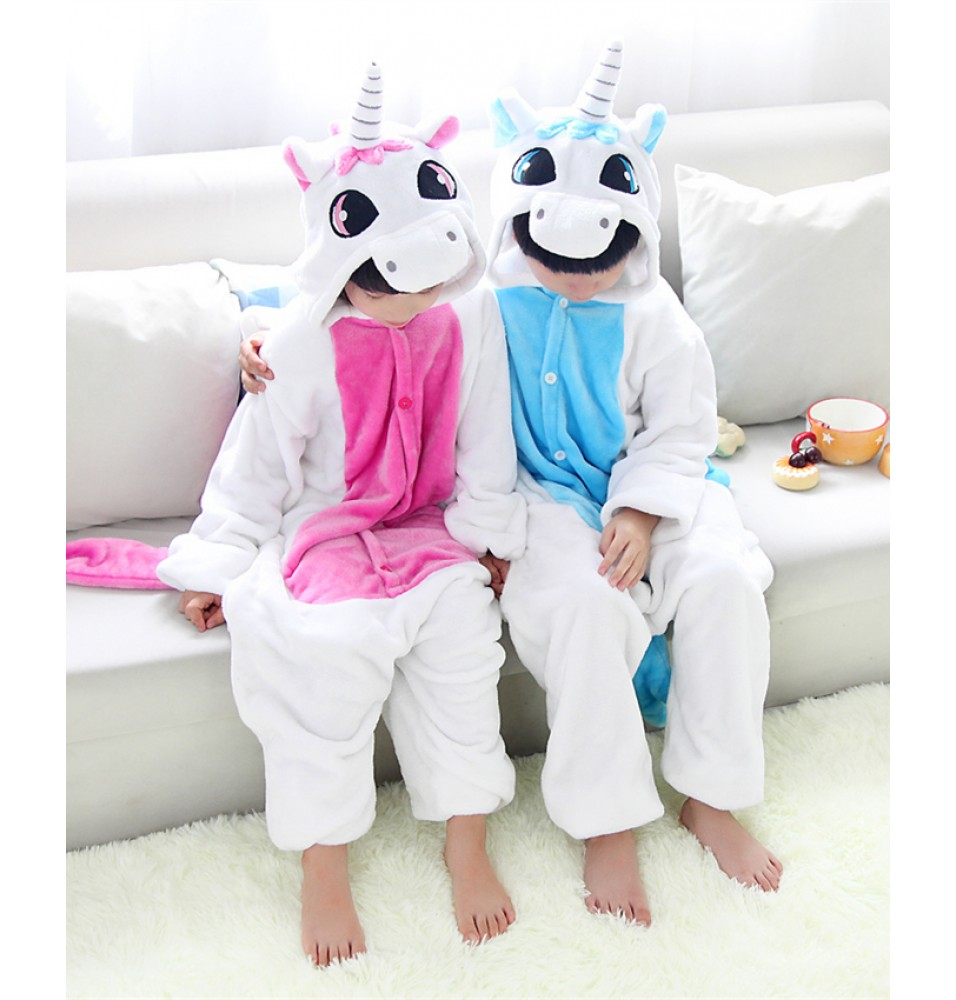 Unicorn Onesies Pajamas Flannel Children Kigurumi Onesies Winter Animal Pajamas For Kids