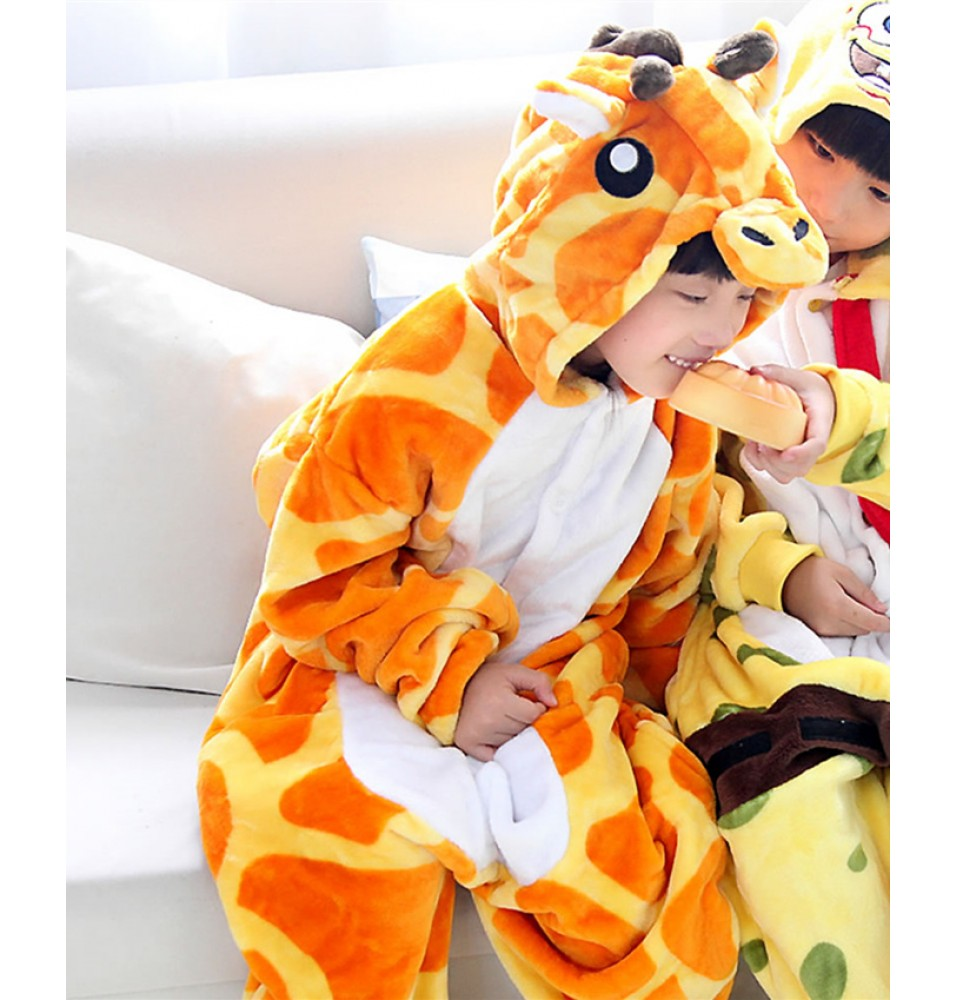 Giraffe Onesies Pajamas Flannel Children Kigurumi Onesies Winter Animal Pajamas For Kids
