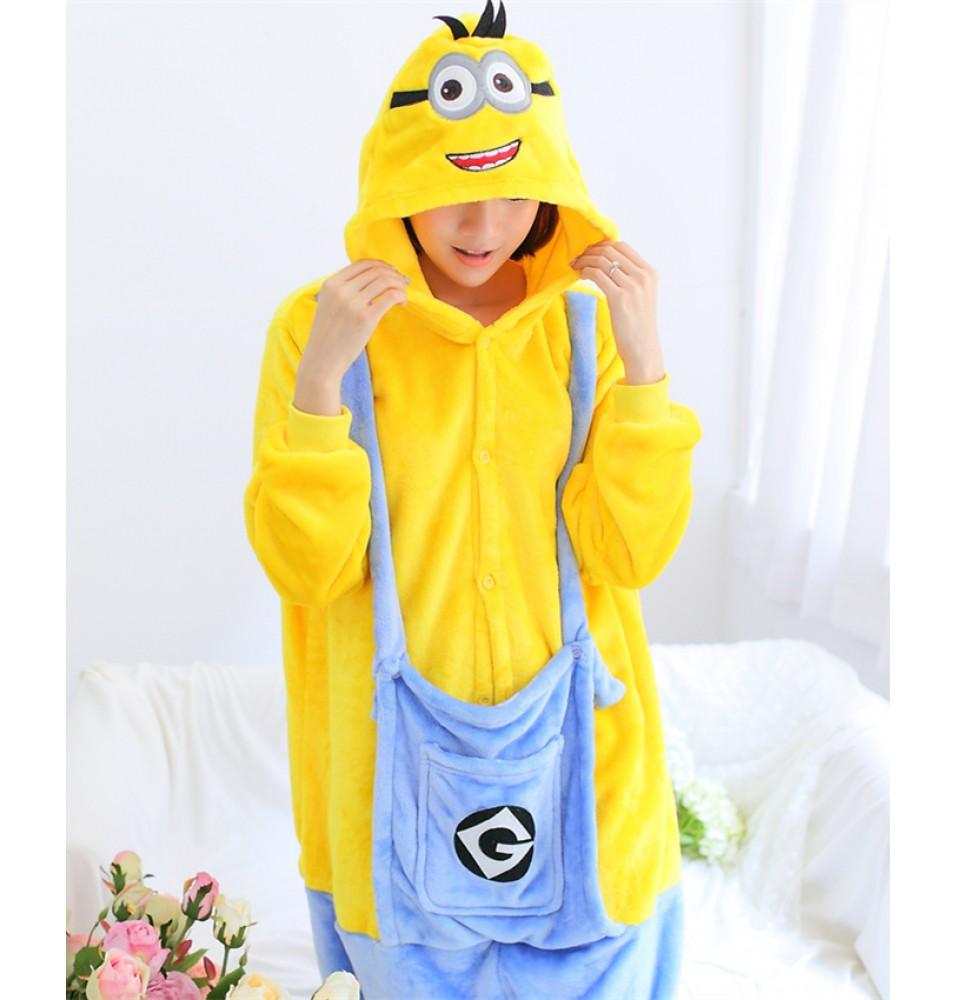 Minions Onesies Pajamas Unisex Flannel Kigurumi Onesies Winter Animal Pajamas For Adults