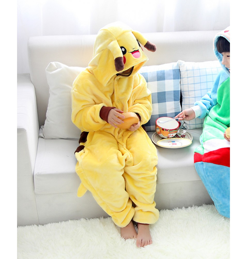 Pokemon Pikachu Onesies Pajamas Flannel Children Kigurumi Onesies Winter Animal Pajamas For Kids