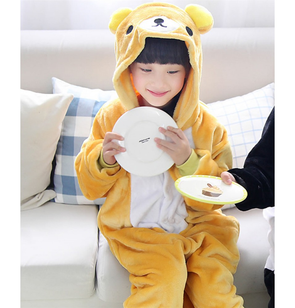 Rilakkuma Onesies Pajamas Flannel Children Kigurumi Onesies Winter Animal Pajamas For Kids