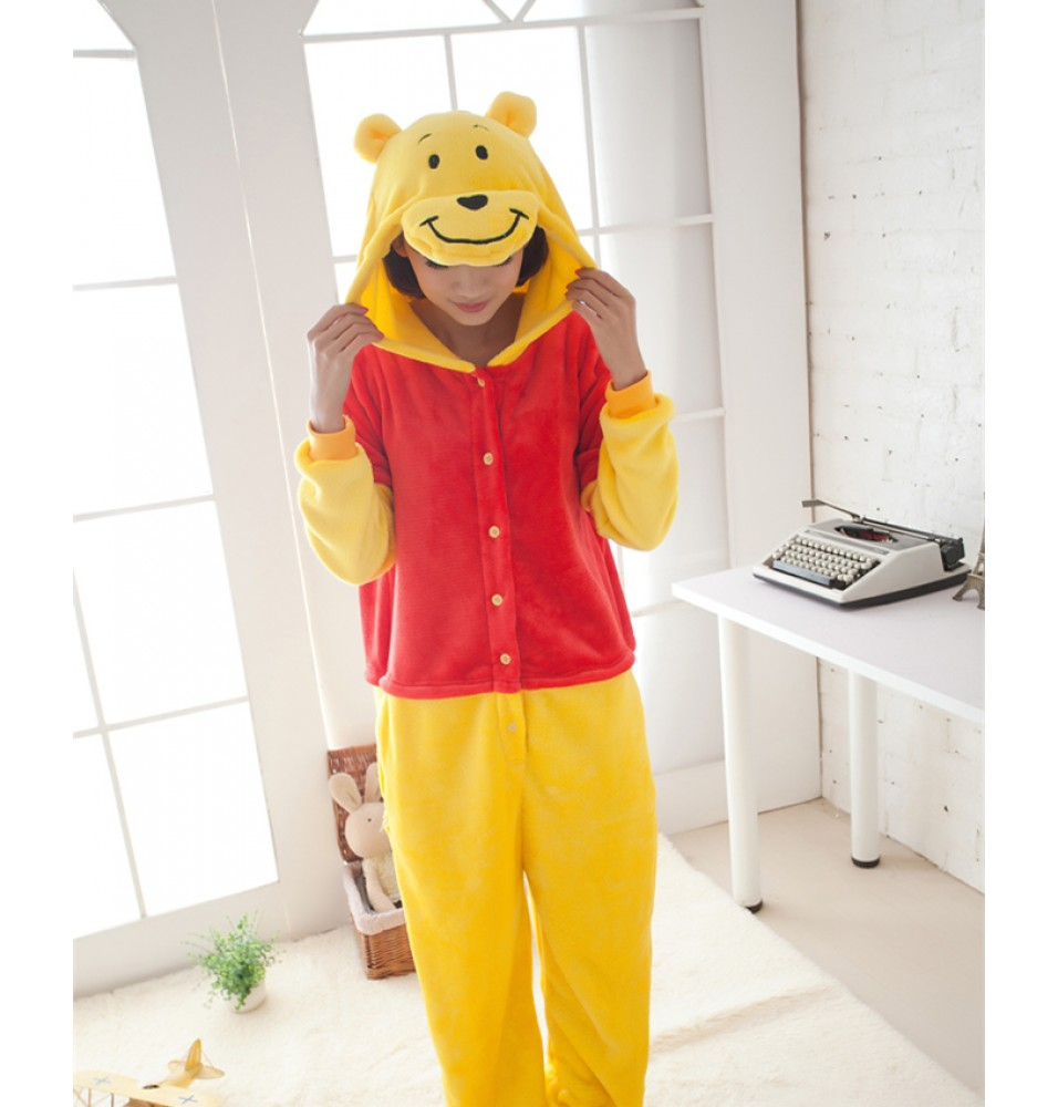 Winnie Pooh Bear Onesies Pajamas Fall Winter Pajamas For Adults