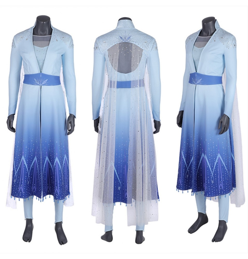 Frozen 2 Elsa Cosplay Costume Fancy Dress Deluxe Version