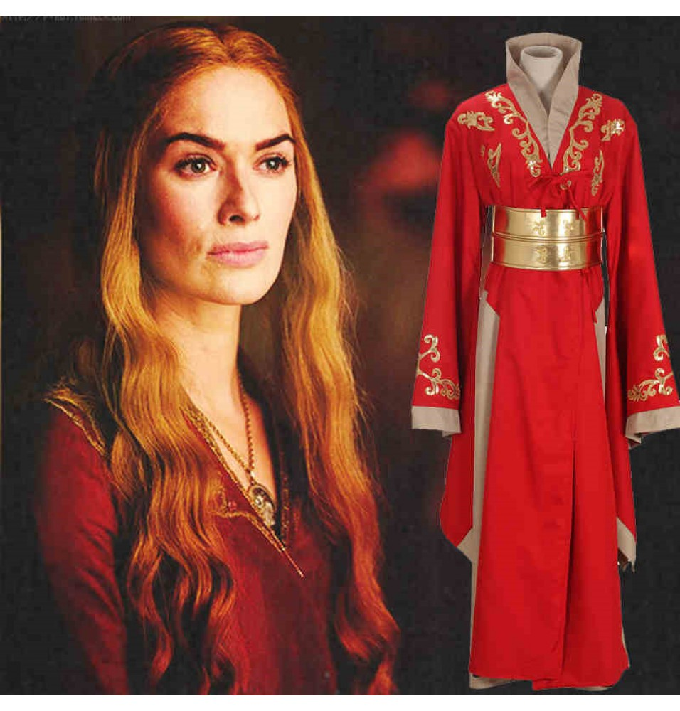 Game of Thrones Cosplay Queen Cersei Lannister Red Dress Costumes