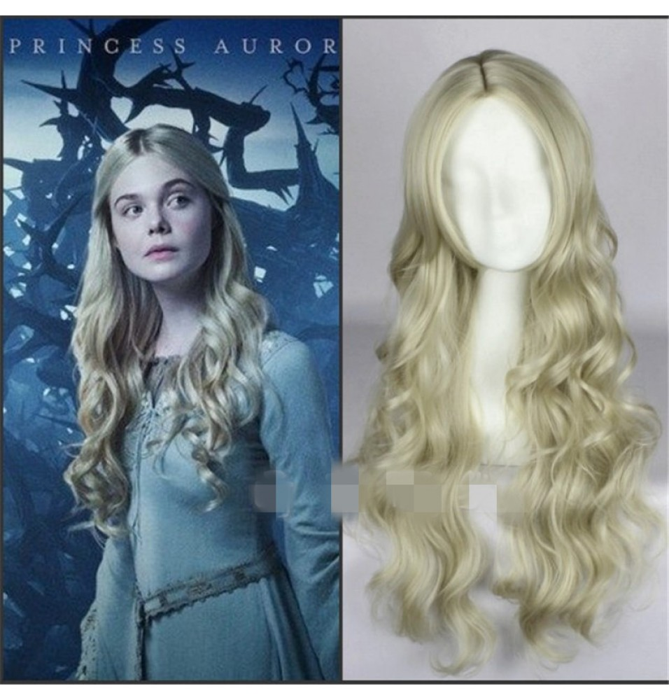 Maleficent Princess Aurora Wig Long Wavy Ash Blonde Cosplay Wig