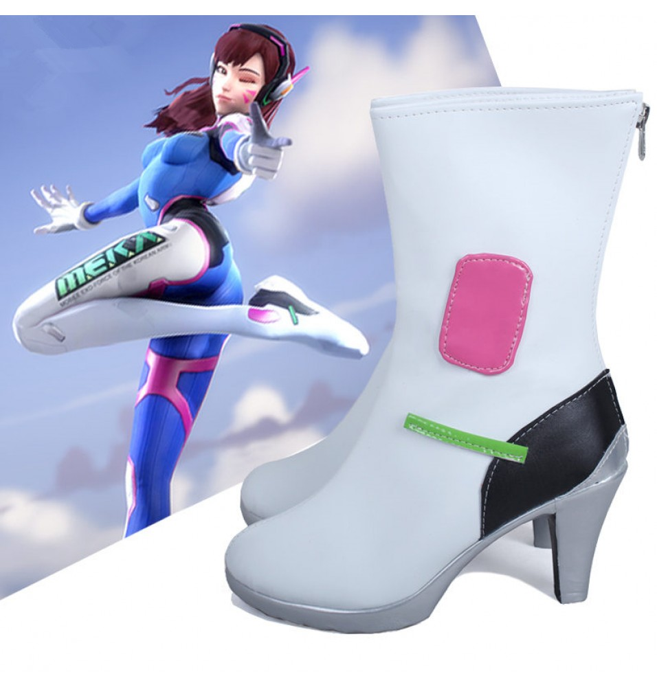 Overwatch OW D.Va DVa Hana Song White Cosplay Shoes