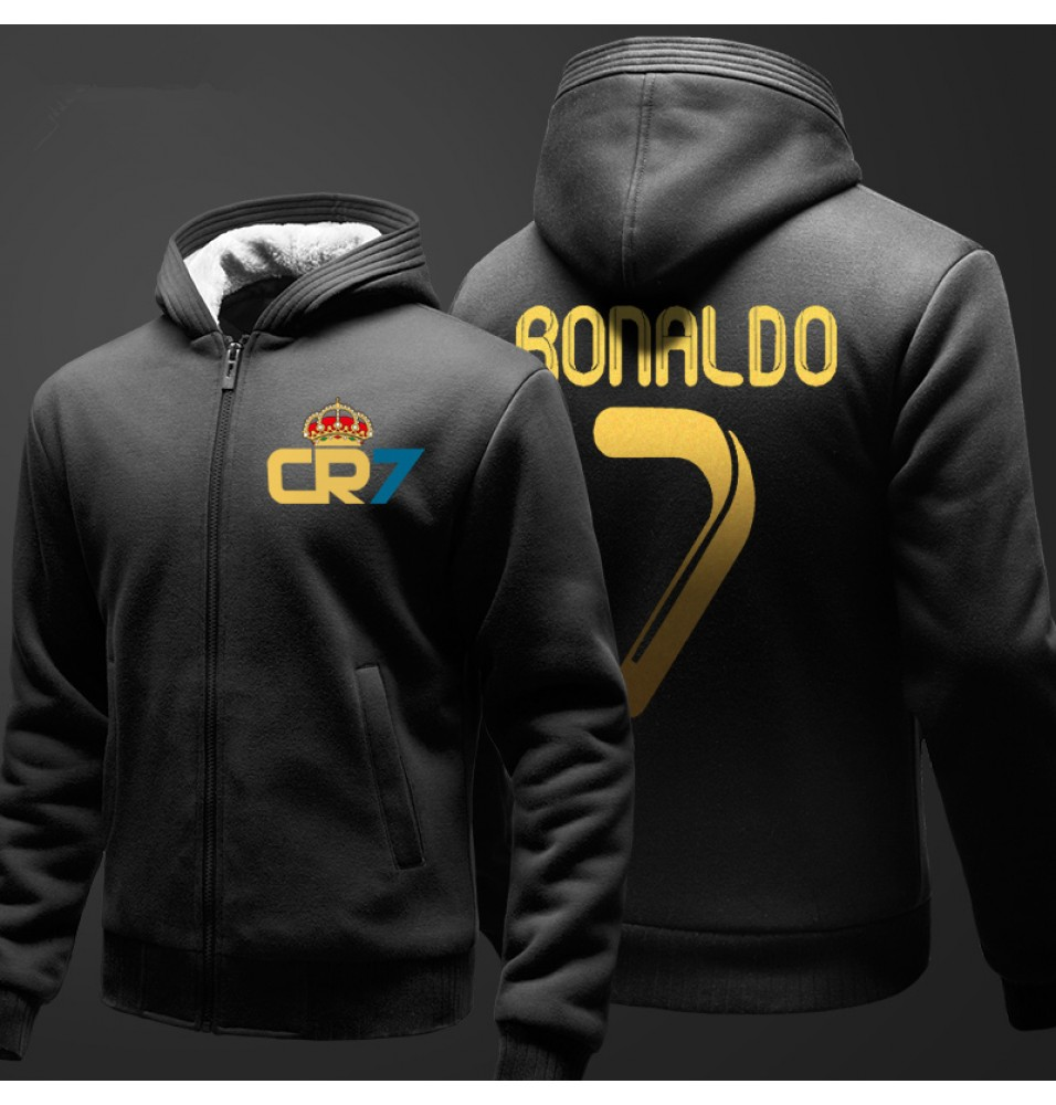 Real Madrid Cristiano Ronaldo 7 Logo Zip Hoodies