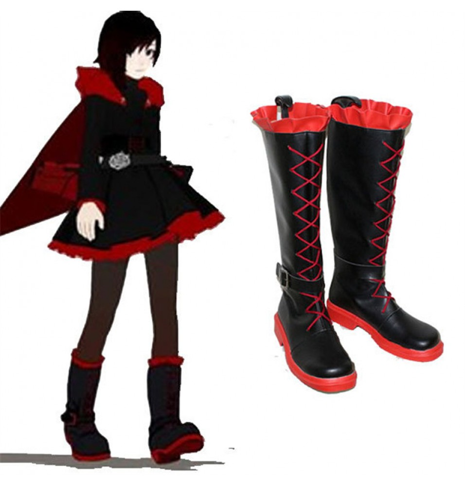 -50%Off RWBY Red Trailer Ruby Flat Boots Cosplay Shoes ... e461a9a819d2e