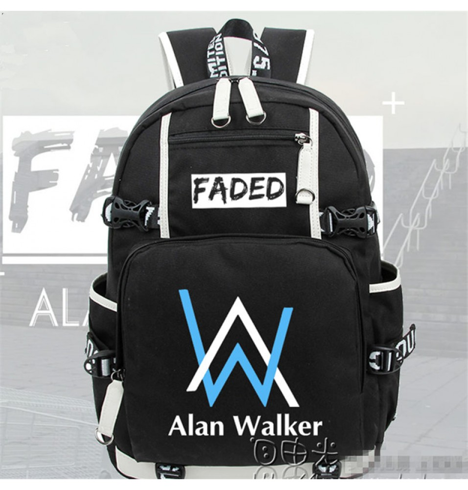 Timecosplay Alan Walker Same Style Blue Logo Backpack School Bag