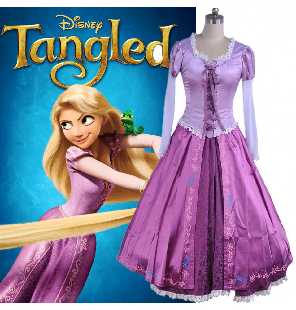 Disney Tangled Princess Rapunzel Adult Dress Cosplay Costume