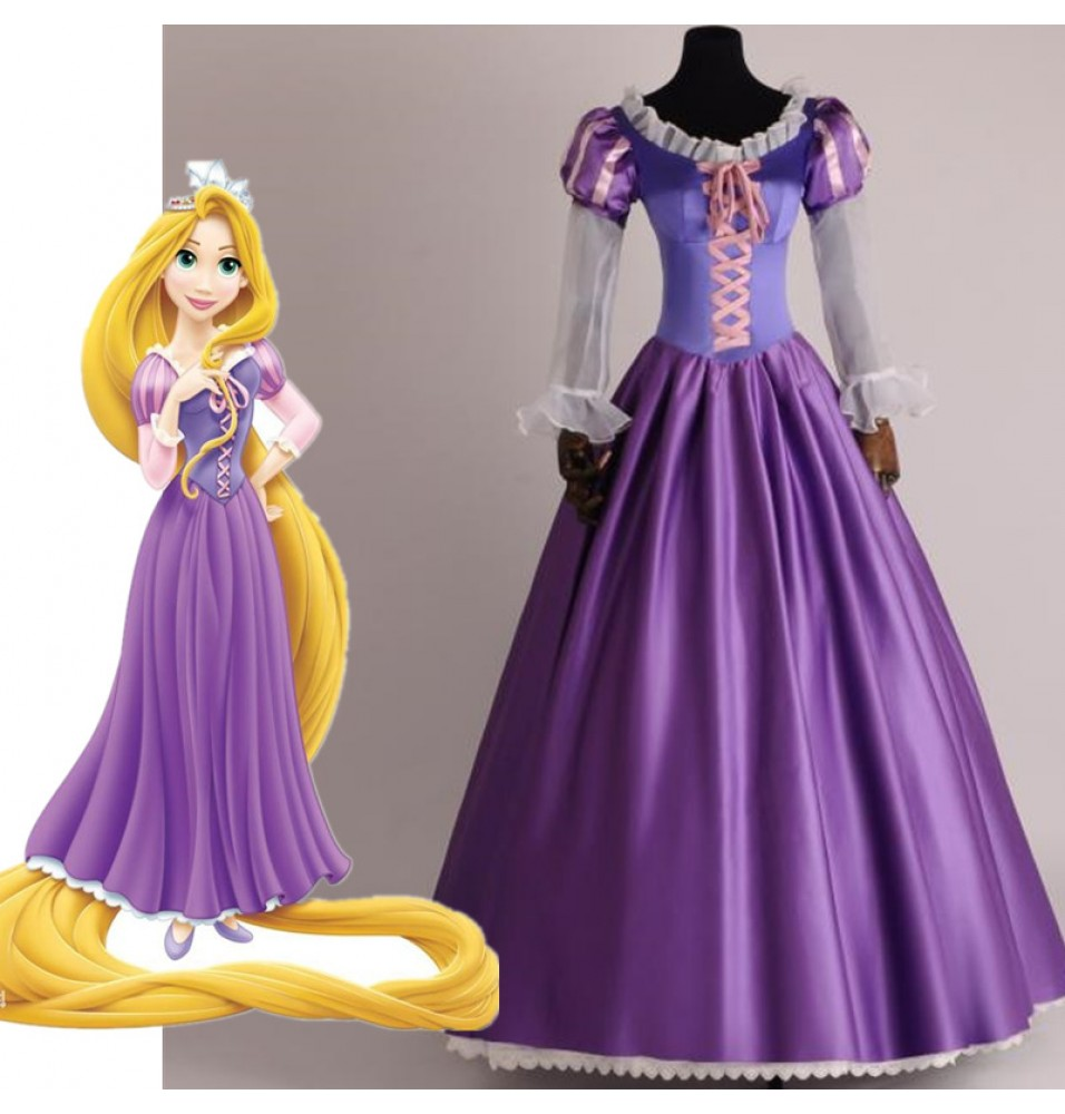Disney Tangled Princess Rapunzel Adult Cosplay Costume Dress