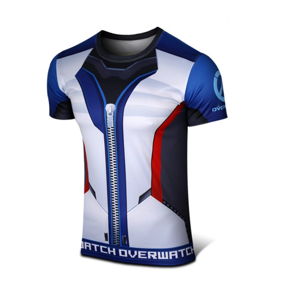 Timecosplay Overwatch Hero SOLDIER:76 Cosplay Sport Tight  3D Tee Shirt