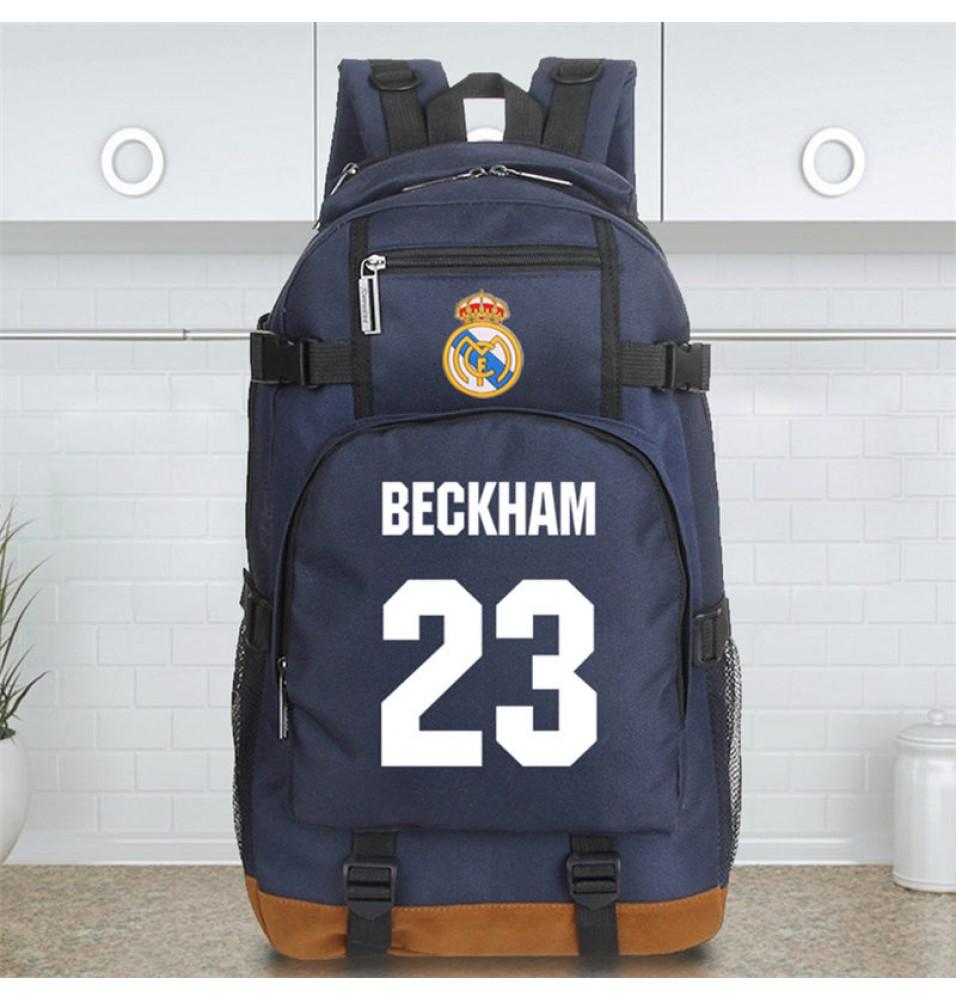 Timecosplay Real Madrid David Beckham 23 Schoolbag Backpack