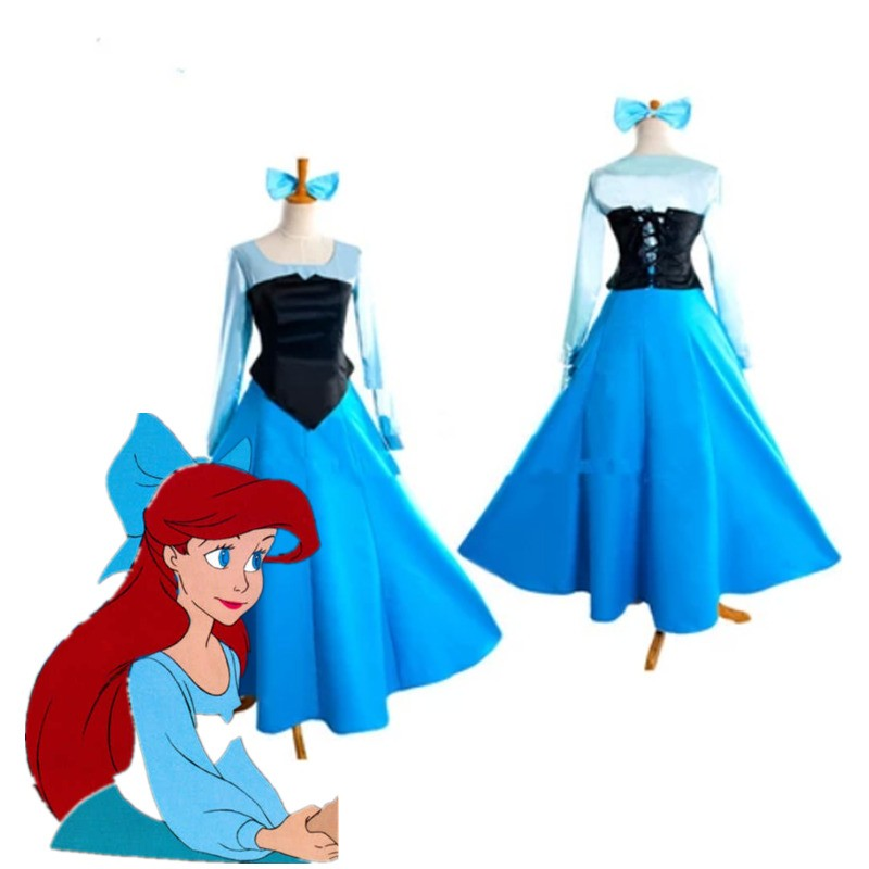 Disney Little Mermaid Ariel Princess Blue Dress Party Costume Cosplay
