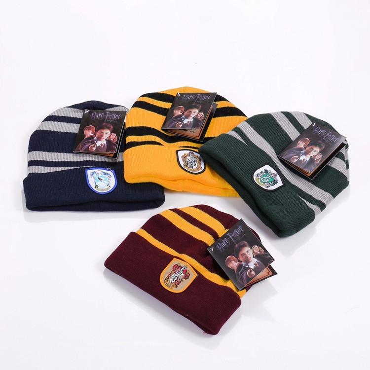 Harry Potter Gryffindor Hufflepuff Ravenclaw Slytherin Badge Beanies Hats