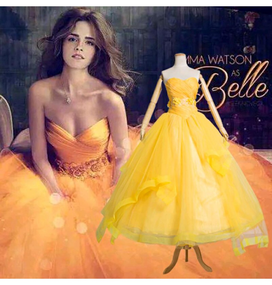 2017 Movie Beauty and The Beast Princess Belle Dress Cosplay Costume