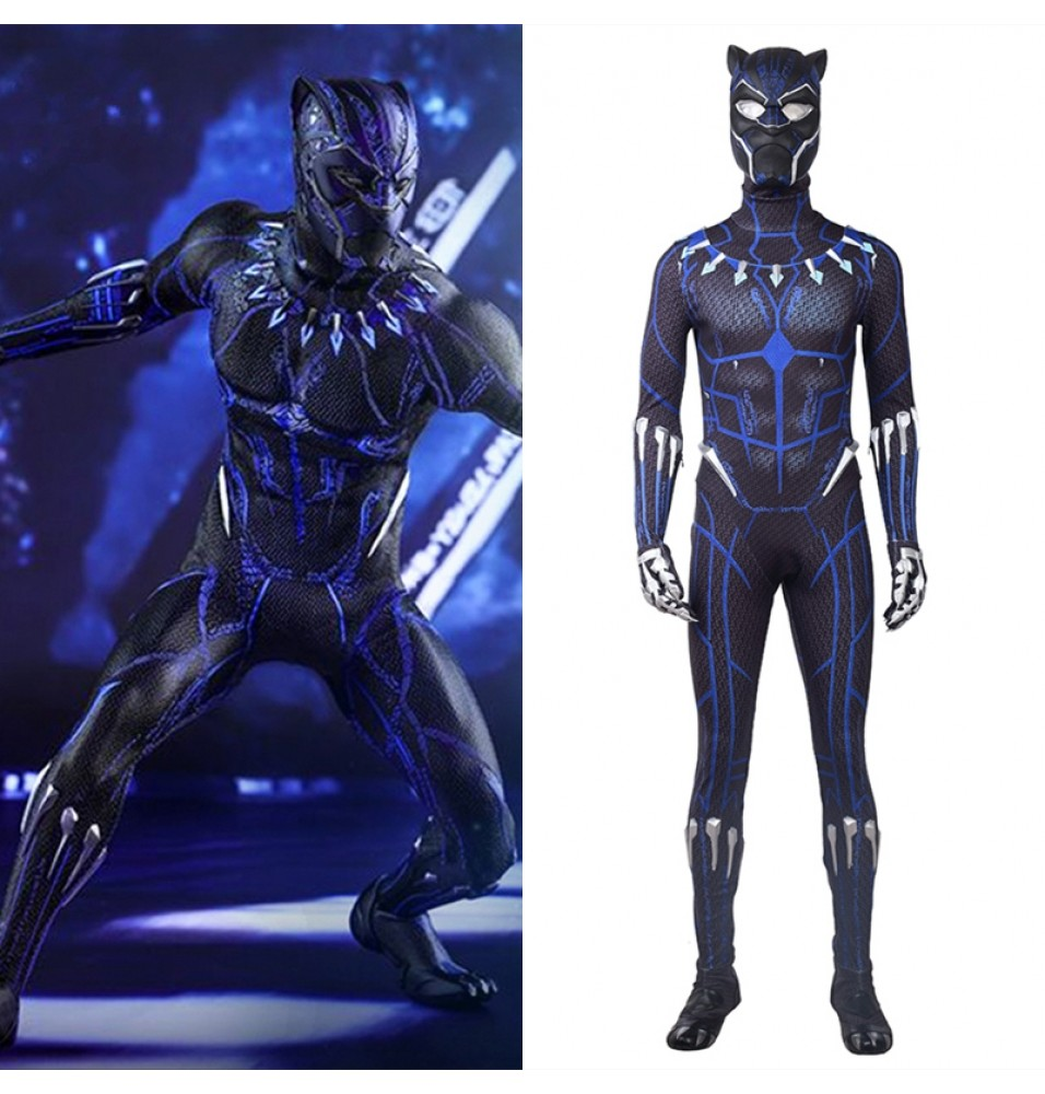 2018 Black Panther Cosplay Costume Blue Jumpsuit