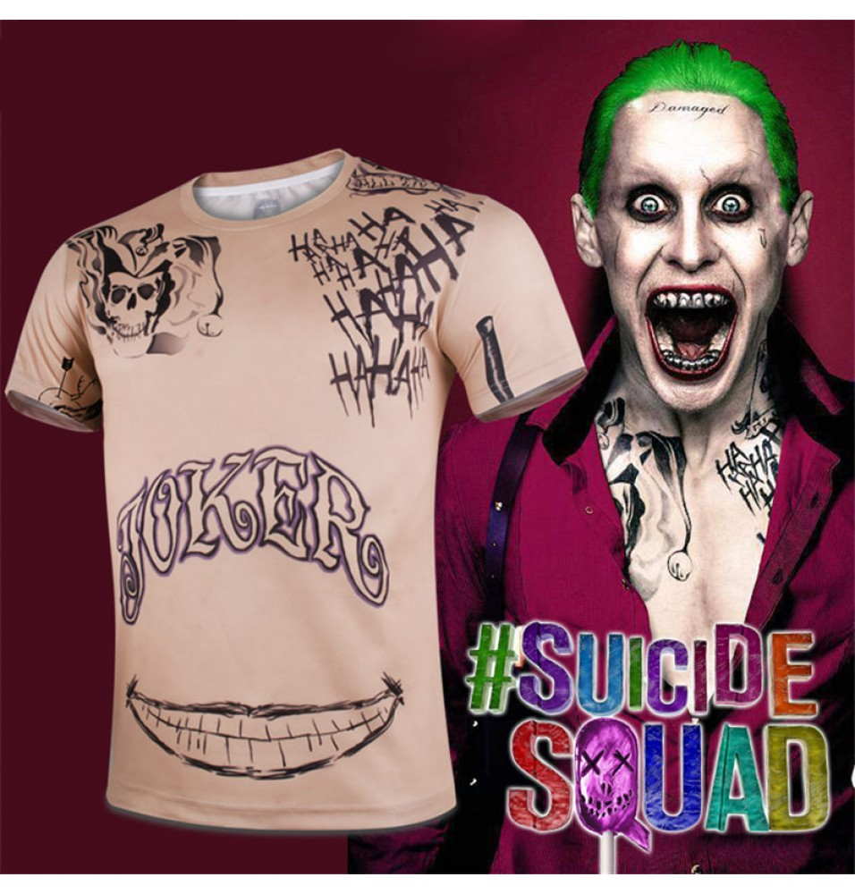 Cool Men Compression DC Suicide Squad joker Cosplay Sport Tight Tops T Shirt