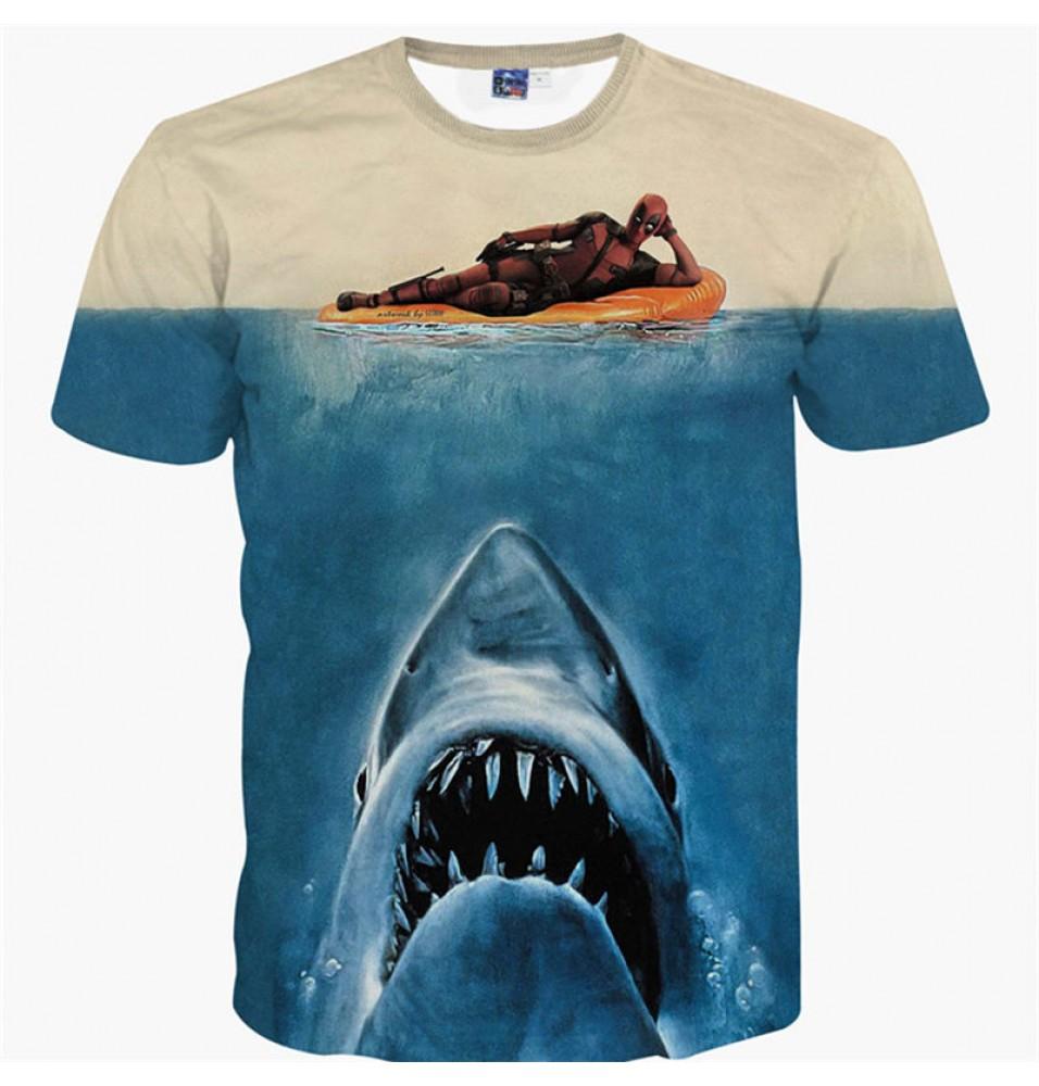 Deadpool 3D Shark Style Men T-shirt Tee Shirt