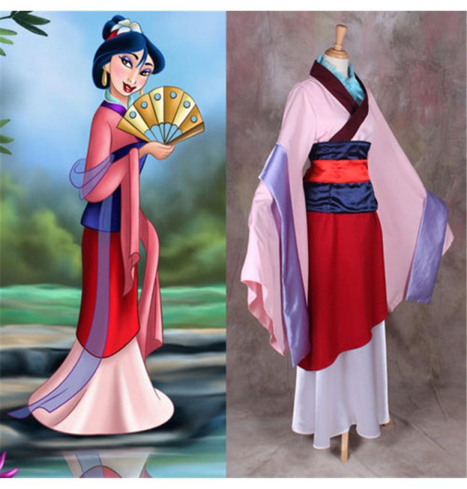 Disney Princess Hua Mulan Cosplay Costume Halloween Party Dress