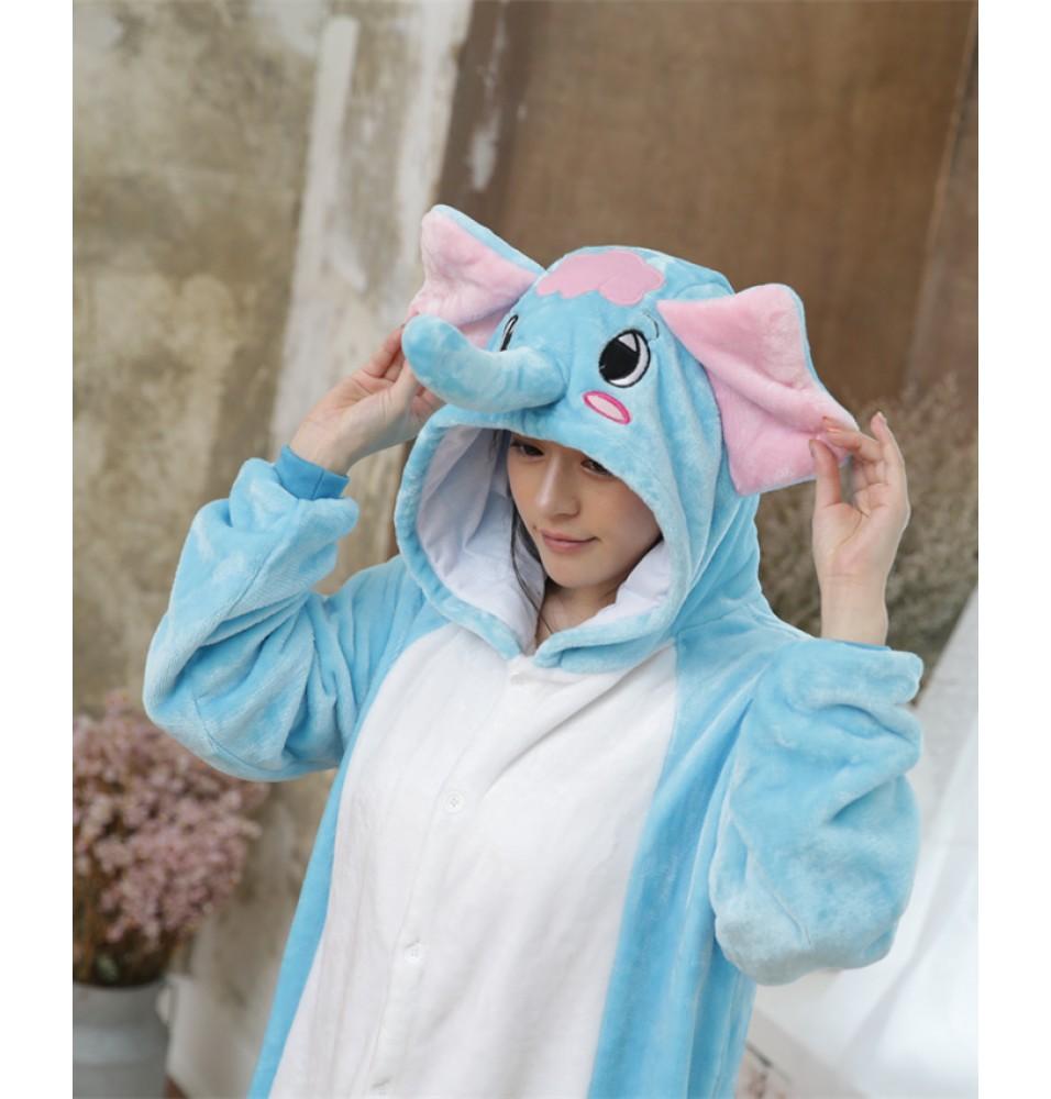 Elephant Onesies Pajamas Unisex Flannel Kigurumi Onesies Winter Animal Pajamas For Adults