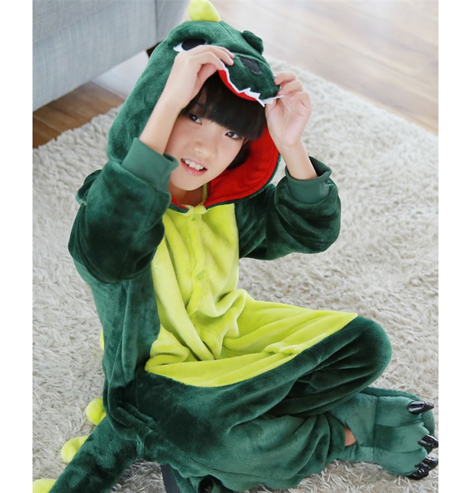 Dinosaur Onesies Pajamas Flannel Children Kigurumi Onesies Winter Animal Pajamas For Kids