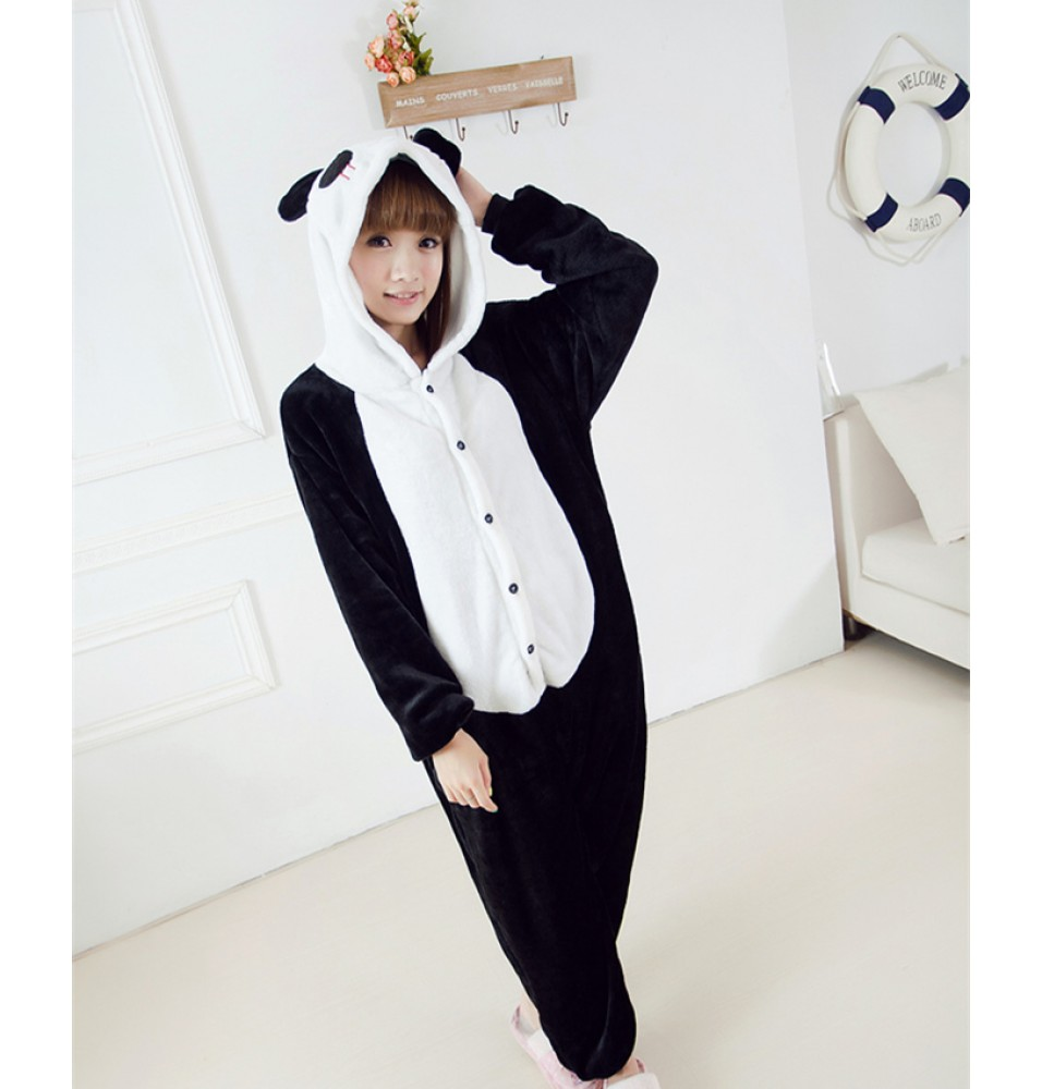 Panda Onesies Pajamas Unisex Flannel Kigurumi Onesies Winter Animal Pajamas For Adults