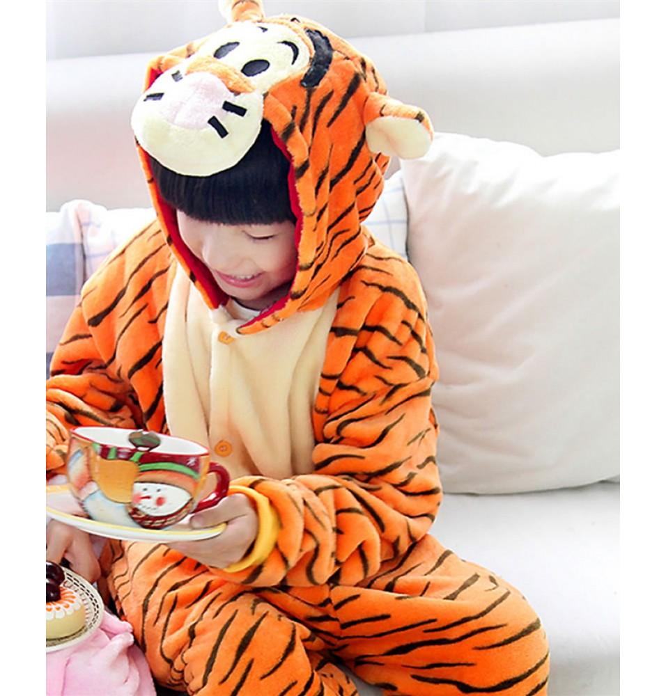Tiger Onesies Pajamas Flannel Children Kigurumi Onesies Winter Animal Pajamas For Kids