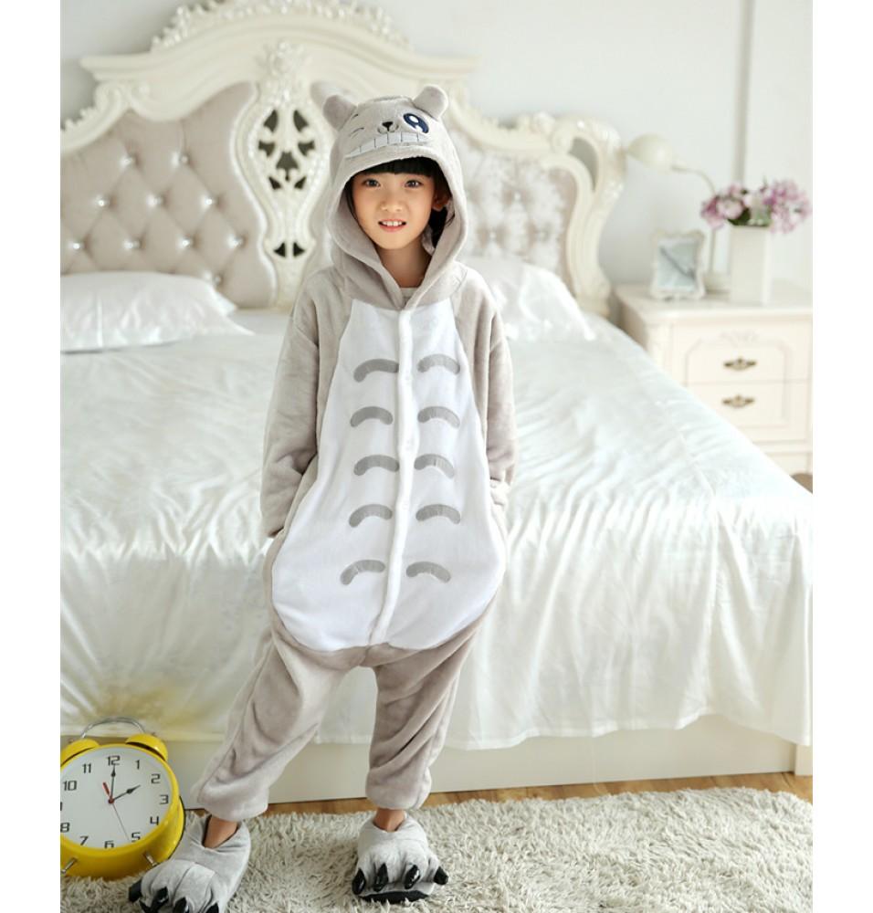 Totoro Onesies Pajamas Flannel Children Kigurumi Onesies Winter Animal Pajamas For Kids