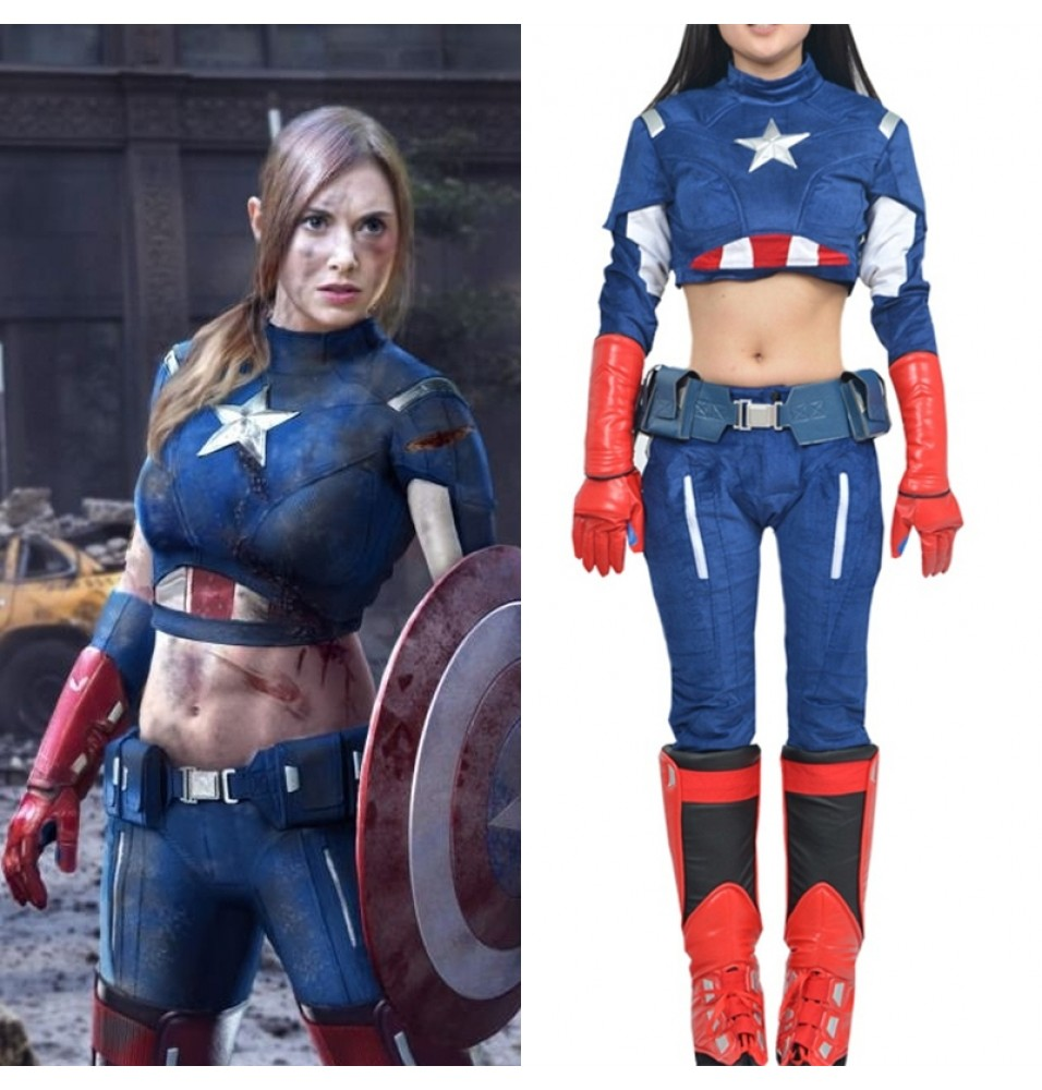 Female Captain America Cosplay Costume Women Costume Deluxe Version
