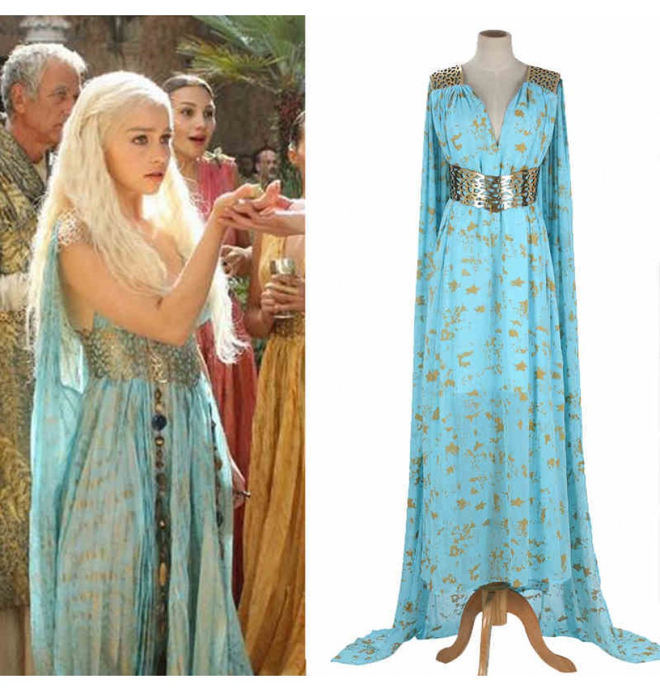 Game Of Thrones Season 2 Daenerys Targaryen Blue Dress Costume