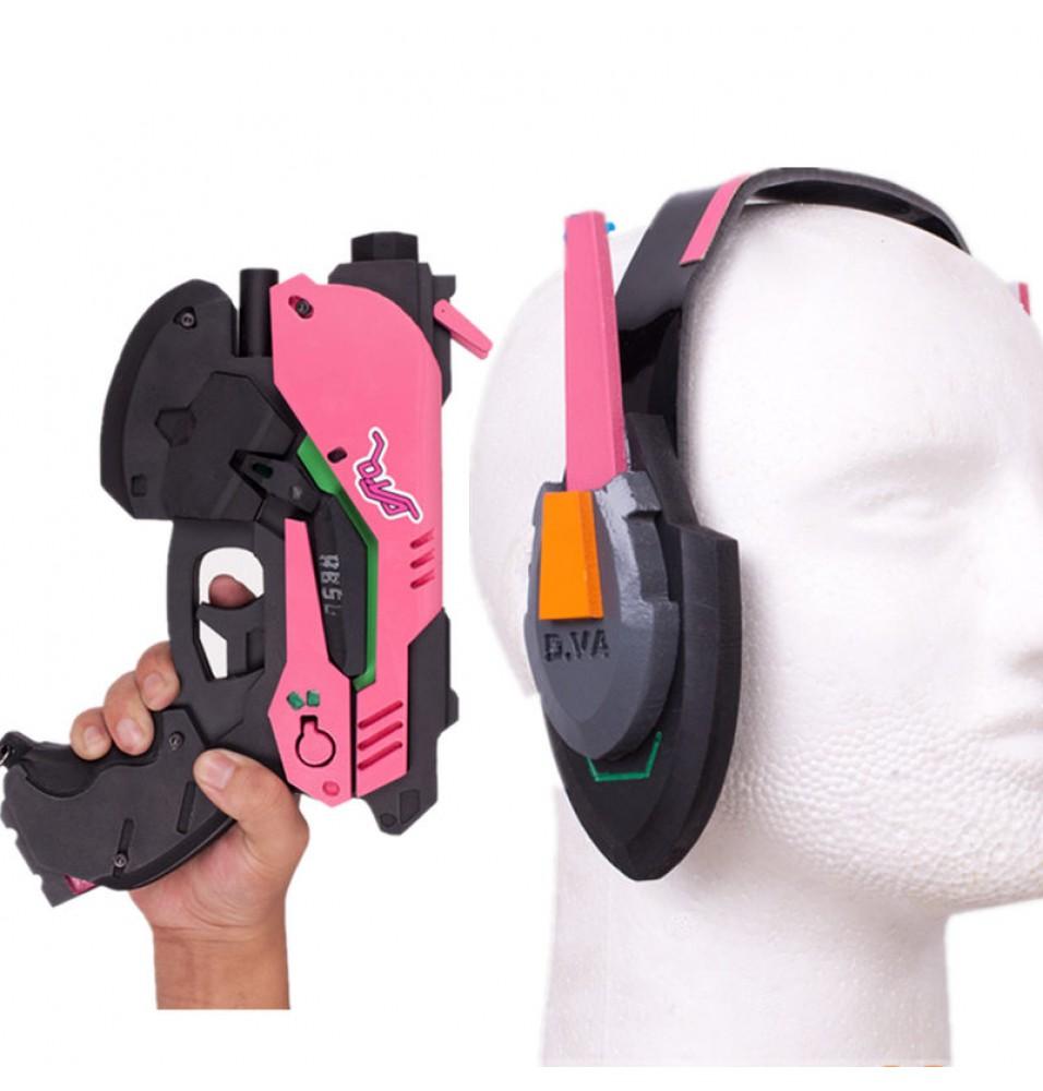 Overwatch OW D.Va DVa Hana Song Cosplay Gun Headset Weapon Prop